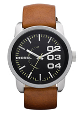 DZ1513 Franchise -46 46mm Large Black & Steel Watch, Brown Strap
