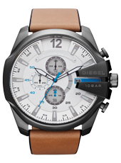 DZ4280 Mega Chief 52mm White & Black XL Chrono with Date, Brown Strap