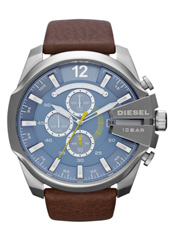DZ4281 Mega Chief 52mm Blue & Steel XL Chrono with Date, Brown Strap
