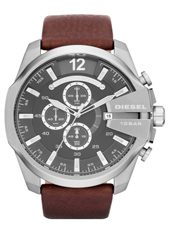 DZ4290 Mega Chief 52mm Grey & Steel XL Chrono with Date, Brown Strap