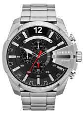 DZ4308 Mega Chief 52mm Steel & Black XL Chrono with Date