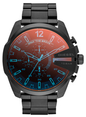 DZ4318 Mega Chief 52mm Black XL Chrono with Iridescent Crystal, Steel Bracelet