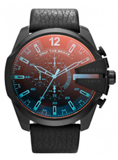 DZ4323 Mega Chief 52mm Black & Blue XL Chrono with Iridescent Crystal, Leather Strap