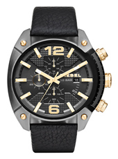 DZ4375 Overflow 49mm Grey steel chronograph with black leather strap