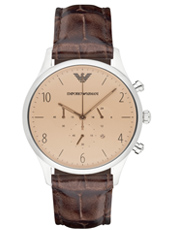 AR1878 Beta Large 43mm Minimalist brown mens chronograph with rose gold hands