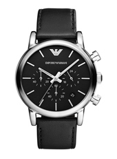 AR1733 Luigi Large 41mm Black Chronograph with Date
