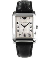 AR0488 Marco Small 25mm Silver & black quartz watch with leather strap