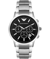 AR2434 Renato Large 43mm Steel & Black Chronograph with Date