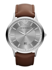AR2463 Renato Large 43mm Steel Gents Watch with Date, Brown Strap