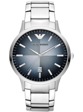 AR2472 Renato Large 43mm Steel & Grey/Blue Gents Watch with Date