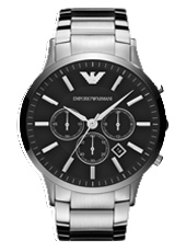 AR2460 Renato XLarge 47mm Steel & Black Chronograph with Date