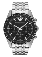 AR5988 Tazio XLarge 46mm Steel Gents Chronograph with Black Dial