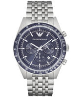 AR6072 Tazio XLarge 46mm Steel chronograph with blue dial and steel bracelet