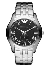 AR1706 Valente Large 43mm Steel & Black Gents Watch with Small Second