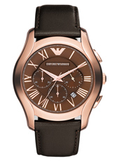 AR1701 Valente XLarge 44.50mm Rose Gold Chronograph with Date, Brown Strap