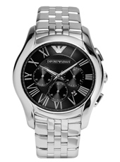 AR1786 Valente XLarge 44.50mm Steel & Black Chronograph with Date