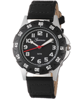 KQ13Q448 Boy Scuba Black Sports Watch with Textile on Leather Strap