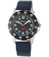 KQ22Q448 Boy Scuba Black Sports Watch with Blue Textile on Leather Strap