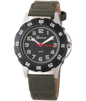 KQ28Q448 Boy Scuba Black Sports Watch with OliveTextile on Leather Strap