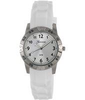 KQ12Q419 Sporty  Steel Kids watch on white rubber strap