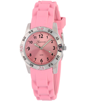 KQ20Q419 Sporty Steel & Pink Kids watch on Pink rubber strap