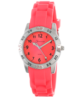 KQ24Q419 Sporty  Steel & Hot Pink Kids watch on rubber strap