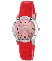 KQ30Q419 Sporty  Steel & Red Kids watch on rubber strap