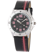 KQ30Q459 Striped Aluminium Kids watch with Black & Red Dial & Strap