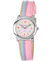 KV20Q450 Striped Pink & Blue Girls Watch with Leather Strap