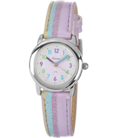 KV23Q450 Striped Lilac & Blue Girls Watch with Leather Strap