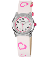 KV20Q451 Sweetheart Girls Watch with Crystals & Pink Heart Print Strap