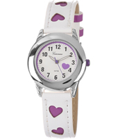 KV23Q449 Sweetheart Girls Watch with Purple Heart Print Strap