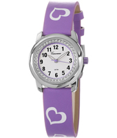KV23Q451 Sweetheart Girls Watch with Crystals & Purple Heart Print Strap