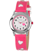 KV24Q449 Sweetheart Girls Watch with Pink Heart Print Strap