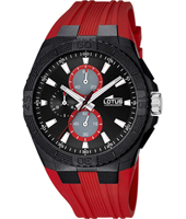 15970/5  44mm Black resin chronograph with Red rubber Strap
