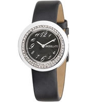 R0151112503 Luna Silver ladies watch with black leather strap