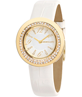 R0151112504 Luna Gold ladies watch with white leather strap