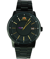 FER02004B Disk 41.40mm Black Quartz Watch with Date & Gold Indexes