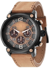 PL14378JSB-11 Armor 50mm Large black & brown chrono with screws