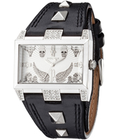 PL13662JS-04B Elevation 43.50mm Rectangular Decorated Steel Watch with Studded Strap