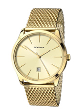1043  39mm Gold Quartz Watch with Milanese Bracelet