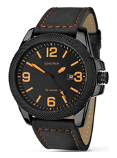 1061  44mm Black Gents Watch with Date