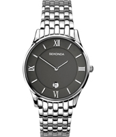 1153  37.80mm Silver & black gents watch with date