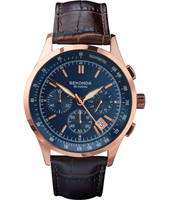 1157  42.60mm Rose gold & blue chrono with date