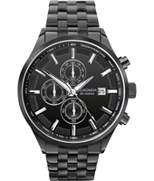 1158  44mm Black chronograf watch with date