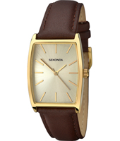 1184  29mm Gold ladies watch with leather strap