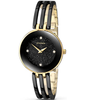2109  30.70mm Trendy Gold & Black Ladies Watch