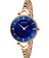 2284  31mm Rose gold & blue ladies quartz watch