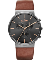 SKW6106 Ancher Large 40mm Dark grey mens watch with brown leather strap