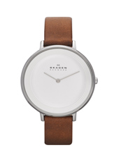 SKW2214 Ditte Large 36.50mm White & Steel Ladies Design Watch on Brown Strap